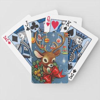 Vintage retro Christmas reindeer playing cards