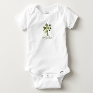 Vintage/Retro Christmas Rose Personnalised Baby Onesie