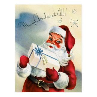 Vintage retro Christmas Santa Holiday postcard