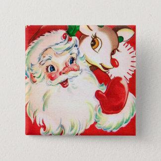 Vintage retro Christmas Santa reindeer button