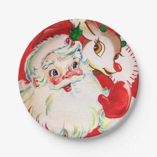 Vintage retro Christmas Santa reindeer party plate