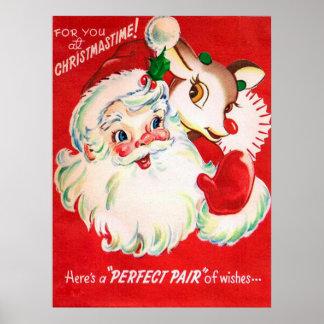 Vintage retro Christmas Santa Reindeer poster