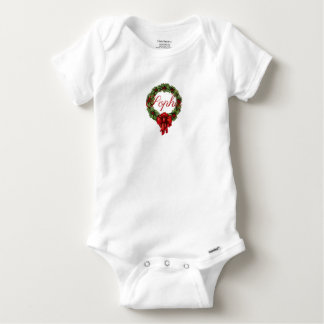 Vintage/Retro Christmas Wreath Personnalised Baby Onesie