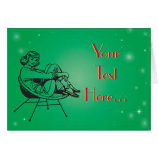 Vintage Retro Clipart Female Lady Sitting Chair Greeting Card