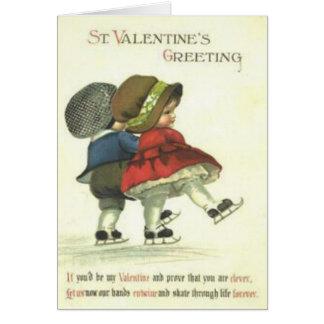 Vintage Retro Couple Ice Skating Valentine Card