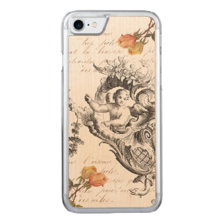 Vintage Retro Cupid and Roses Carved iPhone 7 Case