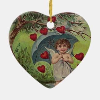 Vintage Retro Cupid Heart Umbrella Valentine Card Ceramic Heart Decoration