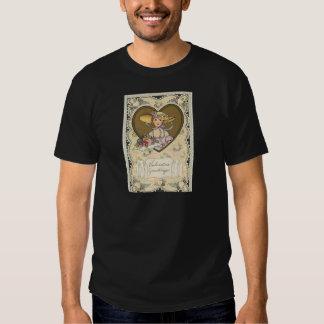 Vintage Retro Cute Girl Hearts Valentine Card Tshirt