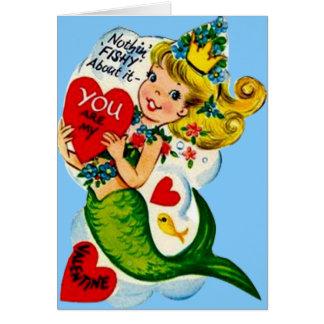 Vintage Retro Cute Mermaid Valentine Card