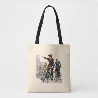 Vintage/Retro Cyclists Tote Bag
