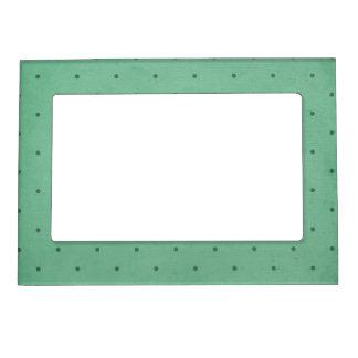 Vintage Retro Dark Green Dotted Design Magnetic Picture Frame