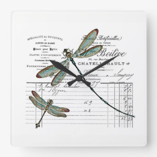 Vintage, Retro Design France - dragonfly, insect Square Wall Clock