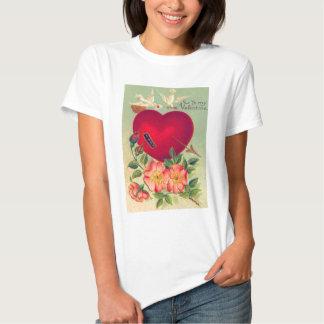 Vintage Retro Doves Hearts Valentine Card T-shirts