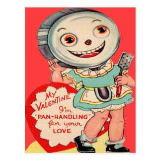 Vintage Retro Frying Pan Valentine Card Postcard