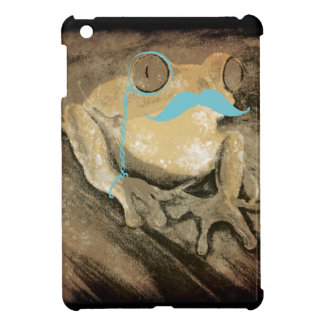 Vintage retro funny turquoise mustache frogs iPad mini covers