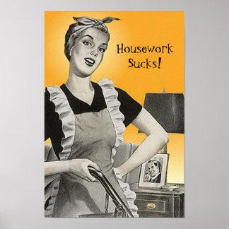 Vintage Retro Funny Vacuum Housework Sucks! Poster