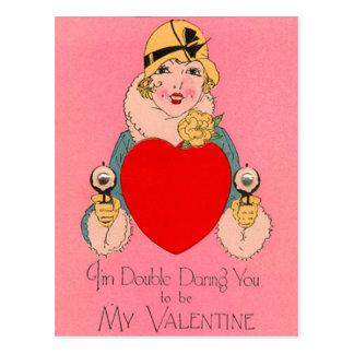 Vintage Retro Gangster Valentine Card Post Card