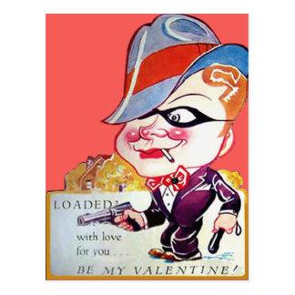 Vintage Retro Gangster Valentine Card Postcard
