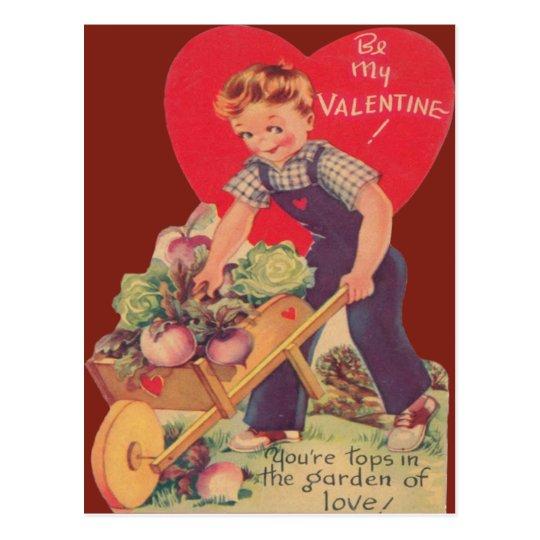 Vintage Retro Gardening Valentine Card