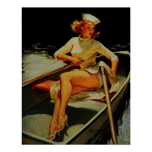 Vintage Retro Gil Elvegren Rowing Pinup girl Poster