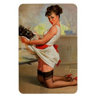 Vintage Retro Gil Elvgren Baker Pin Up Girl Rectangular Magnet