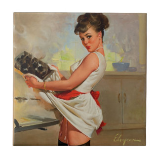 Vintage Retro Gil Elvgren Baker Pin Up Girl Tile