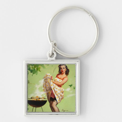 Vintage Retro Gil Elvgren Barbeque Pin Up Girl Key Chains
