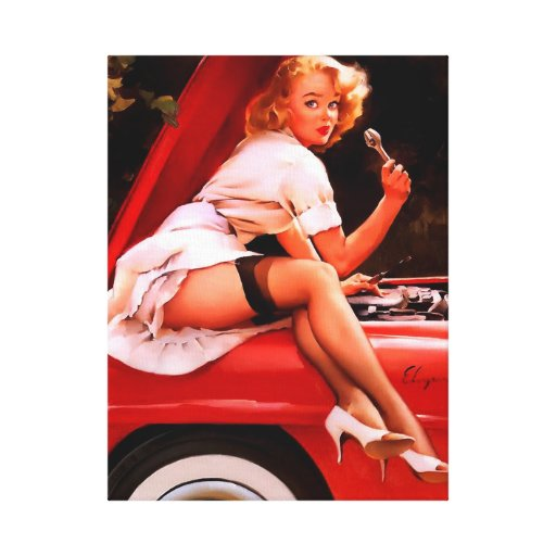 Vintage Retro Gil Elvgren Car Mechanic Pinup Girl Gallery Wrapped Canvas