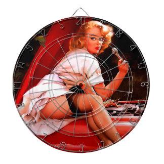 Vintage Retro Gil Elvgren Car Mechanic Pinup Girl Dartboard