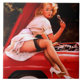 Vintage Retro Gil Elvgren Car Mechanic Pinup Girl Large Square Tile