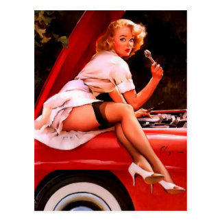 Vintage Retro Gil Elvgren Car Mechanic Pinup Girl Postcard