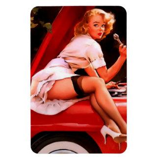 Vintage Retro Gil Elvgren Car Mechanic Pinup Girl Rectangular Photo Magnet