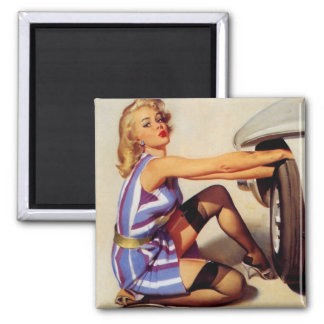 Vintage Retro Gil Elvgren Car Mechanic Pinup Girl Square Magnet