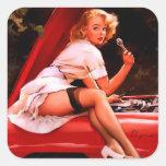 Vintage Retro Gil Elvgren Car Mechanic Pinup Girl Square Sticker