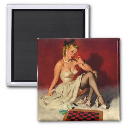 Vintage Retro Gil Elvgren Checkers Pin UP Girl Magnets