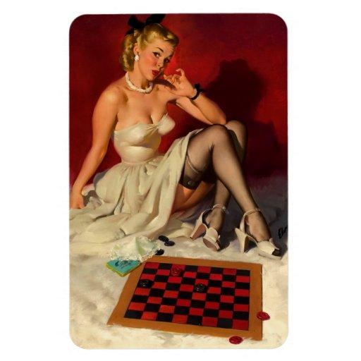 Vintage Retro Gil Elvgren Checkers Pin Up Girl Magnet