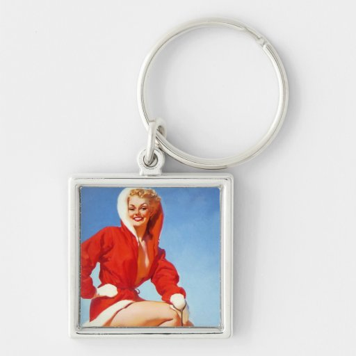 Vintage Retro Gil Elvgren Christmas Pin UP Girl Keychain