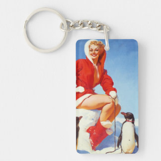 Vintage Retro Gil Elvgren Christmas Pin UP Girl Acrylic Keychains