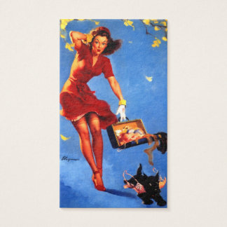 Vintage Retro Gil Elvgren Fall Spell Pinup Girl Business Card