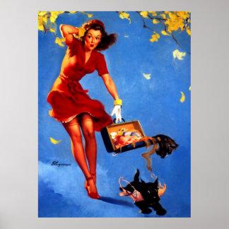 Vintage Retro Gil Elvgren Fall Spell Pinup Girl Poster