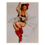 Vintage Retro Gil Elvgren Firefighter Pin Up Girl Poster