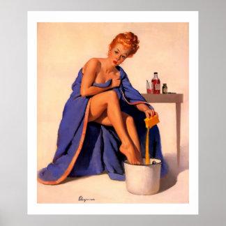 Vintage Retro Gil Elvgren Foot Spa Pin Up Girl Poster