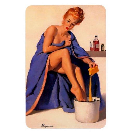 Vintage Retro Gil Elvgren Foot Spa Pin Up Girl Magnet