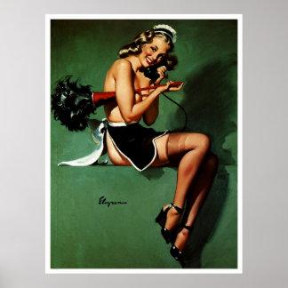 Vintage Retro Gil Elvgren French Maid Pinup Girl Poster