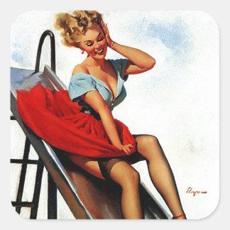 Vintage Retro Gil Elvgren Fun Slide Pin Up Girl Stickers