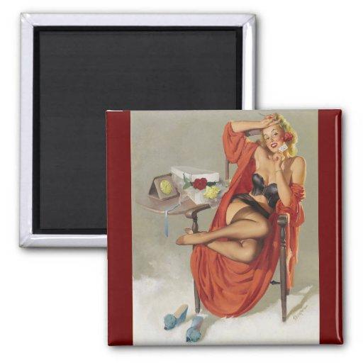 Vintage Retro Gil Elvgren Glamour Pin Up Girl Magnet