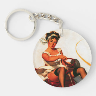 Vintage Retro Gil Elvgren Go Kart Pin Up Girl Keychain