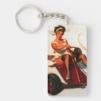 Vintage Retro Gil Elvgren Go Kart Pin Up Girl Acrylic Keychains