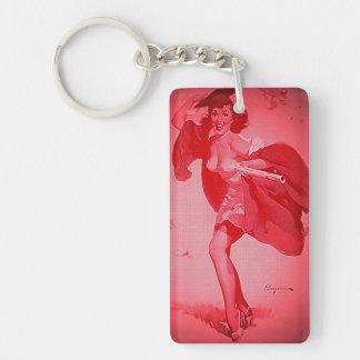 Vintage Retro Gil Elvgren Graduate Pink Pinup Girl Acrylic Key Chains