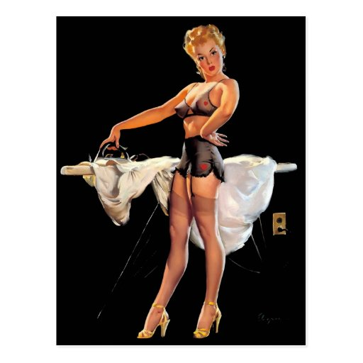 Vintage Retro Gil Elvgren Ironing Pinup Girl Postcards